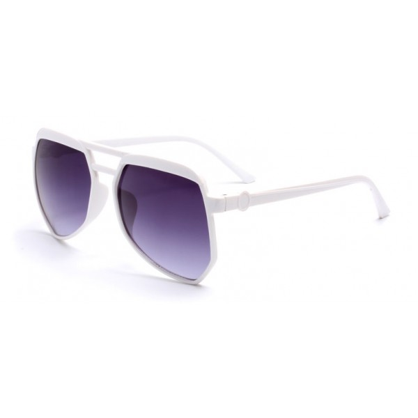 White Oversized Pilot Rider Aviator Polarized Lens Sunglasses