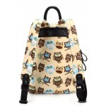 Cream Beige Owl Cartoon Comic Vampires Punk Rock Backpack
