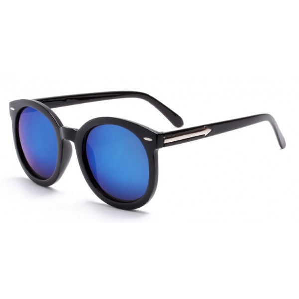 Black Round Arrow Arm Blue Mirror Polarized Lens Sunglasses