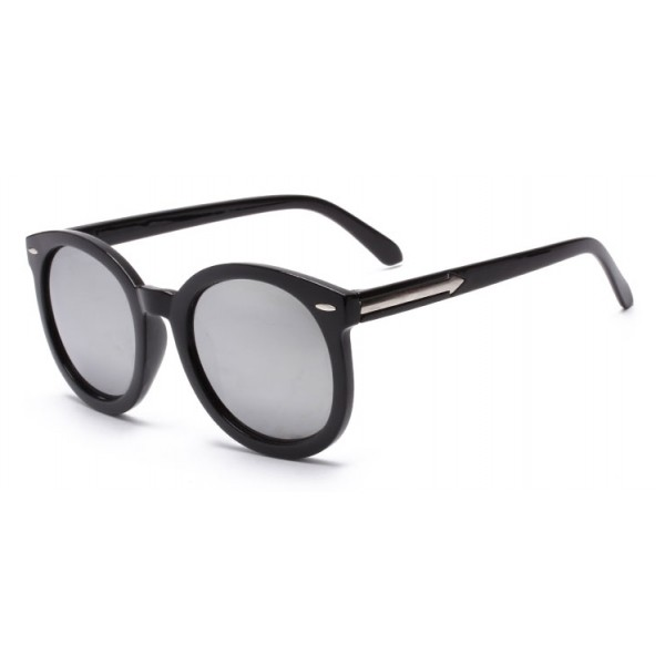 Black Round Arrow Arm Silver Mirror Polarized Lens Sunglasses