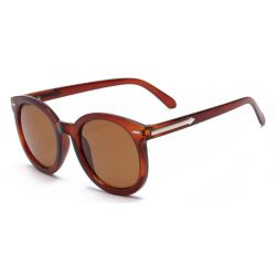 Brown Round Arrow Arm Polarized Lens Sunglasses