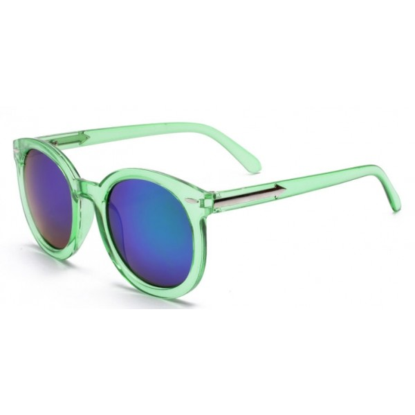 Green Round Arrow Arm Blue Mirror Polarized Lens Sunglasses
