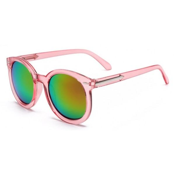 Pink Round Arrow Arm Mirror Polarized Lens Sunglasses