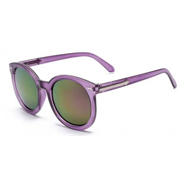 Purple Round Arrow Arm Mirror Polarized Lens Sunglasses