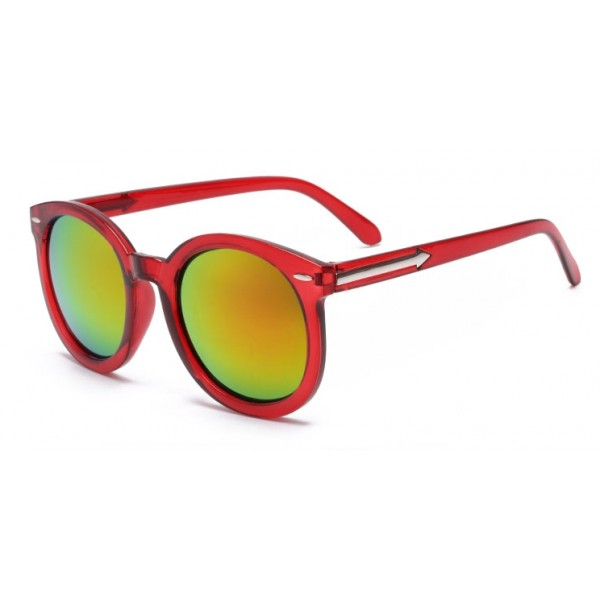 Red Round Arrow Arm Mirror Polarized Lens Sunglasses