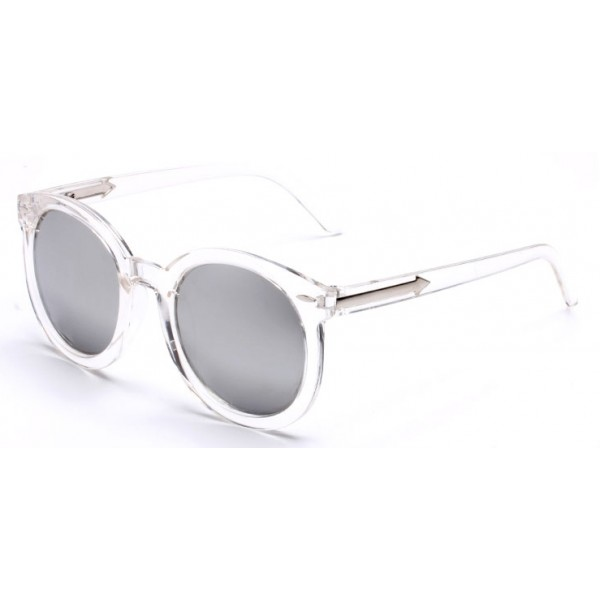 Transparent Round Arrow Arm Silver Mirror Polarized Lens Sunglasses
