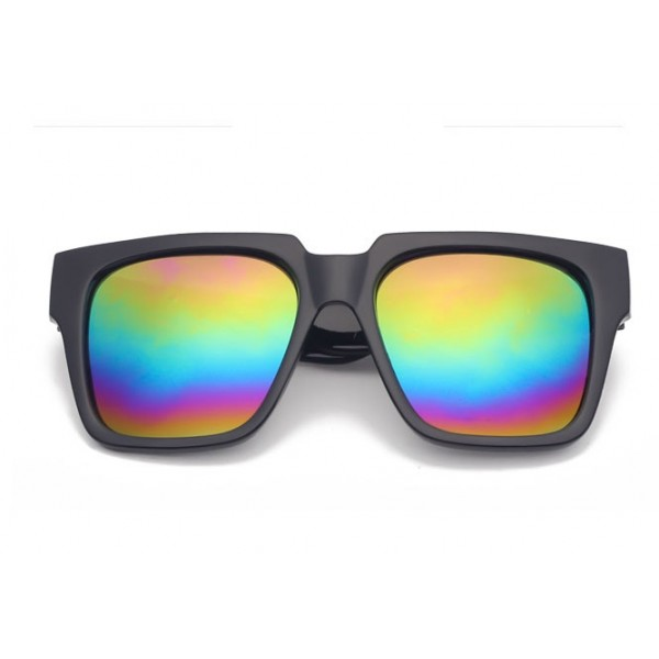Black Oversized Rainbow Mirror Rectangular Polarized Mirror Lens Sunglasses