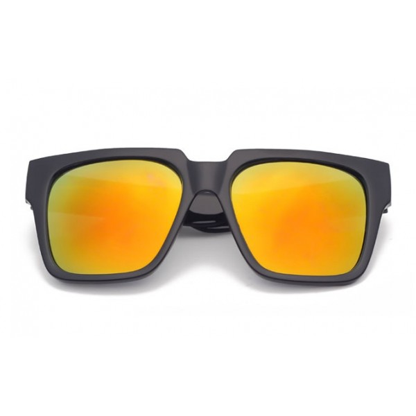 Black Oversized Yellow Mirror Rectangular Polarized Mirror Lens Sunglasses