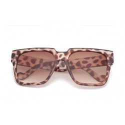 Brown Leopard Oversized Rectangular Polarized Lens Sunglasses