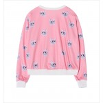 Pink Bow Cats Cartoon Harajuku Funky Long Sleeve Sweatshirts Tops