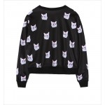 Black Pink Bow Cats Cartoon Harajuku Funky Long Sleeve Sweatshirts Tops