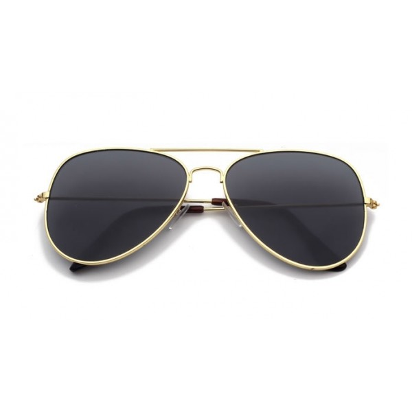 Black Oversized Aviator Rider Polarized Lens Gold Frame Vintage Sunglasses