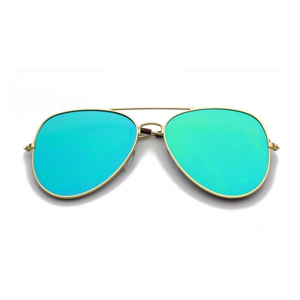Blue Oversized Rider Aviator Mirror Polarized Lens Gold Frame Vintage Sunglasses