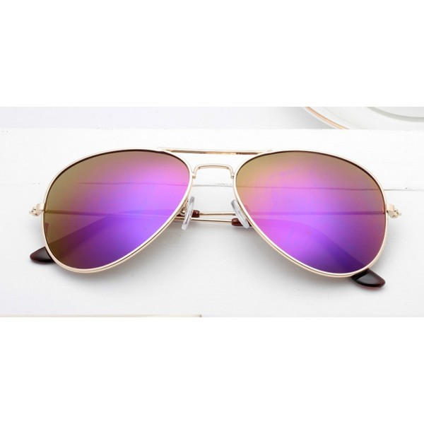 Purple Oversized Aviator Rider Mirror Polarized Lens Gold Frame Vintage Sunglasses