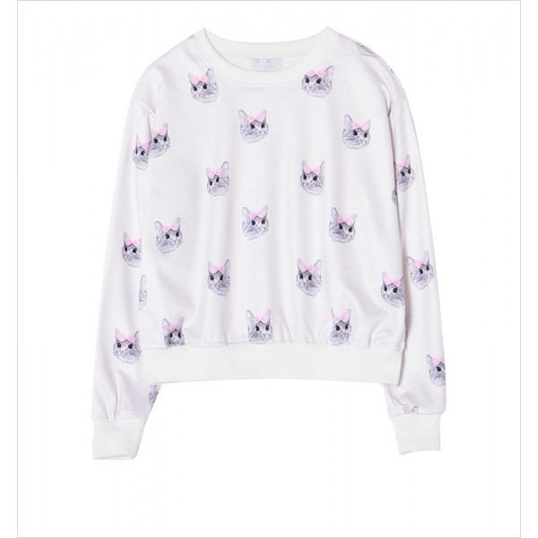 White Pink Bow Cats Cartoon Harajuku Funky Long Sleeve Sweatshirts Tops