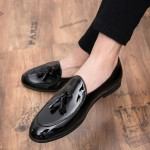Black Patent Glossy Tassels Leather Prom Loafers Flats Dress Shoes