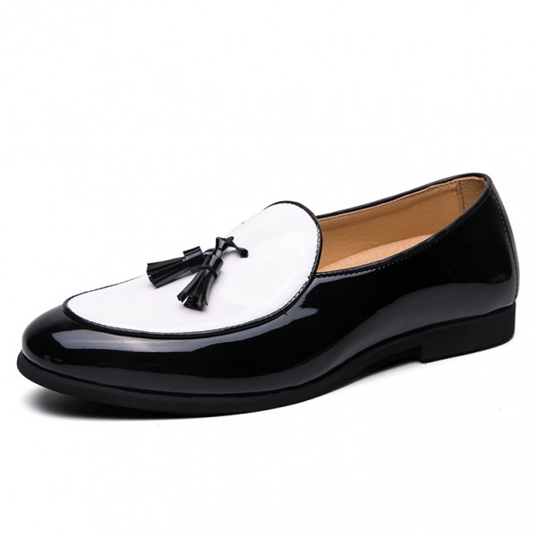 White Black Patent Tassels Leather Prom Loafers Flats Dress Shoes