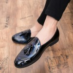 Blue Patent Glossy Tassels Leather Prom Loafers Flats Dress Shoes