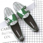 Green White Houndstooth Monk Straps Leather Loafers Flats Dress Shoes