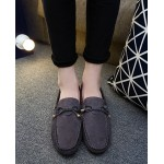 Grey Suede Bow Mens Casual Loafers Flats Shoes