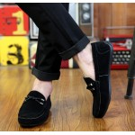 Black Suede Braided Knit Mens Casual Loafers Flats Shoes