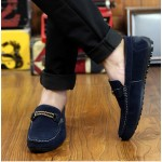 Blue Navy String Suede Mens Casual Loafers Flats Shoes