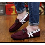Burgundy White Suede Mens Casual Loafers Flats Shoes