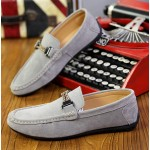 Grey String Suede Mens Casual Loafers Flats Shoes