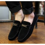 Black String Suede Mens Casual Loafers Flats Shoes