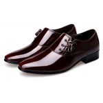 Burgundy Patent Leather Glossy Side Lace Up Oxfords Flats Dress Shoes