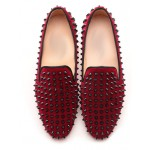 Burgundy Suede Spike Studs Punk Rock Womens Loafers Flats Dress Shoes