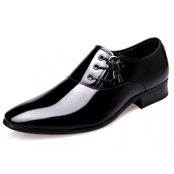Black Patent Leather Glossy Side Lace Up Oxfords Flats Dress Shoes