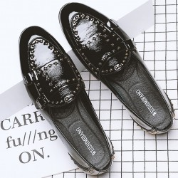 Black Patent Studs Monk Straps Leather Loafers Flats Dress Shoes