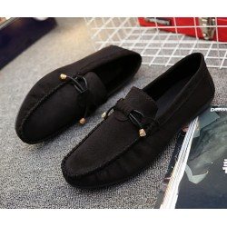 Black Suede Bow Mens Casual Loafers Flats Shoes