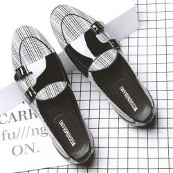 Black White Houndstooth Monk Straps Leather Loafers Flats Dress Shoes