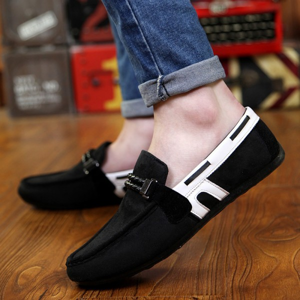 Black White Suede Mens Casual Loafers Flats Shoes