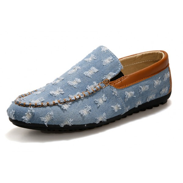 Blue Denim Ripped Jeans Mens Casual Loafers Flats Shoes
