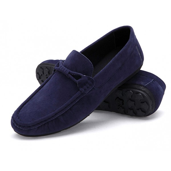 Blue Navy Suede Mens Casual Loafers Flats Shoes