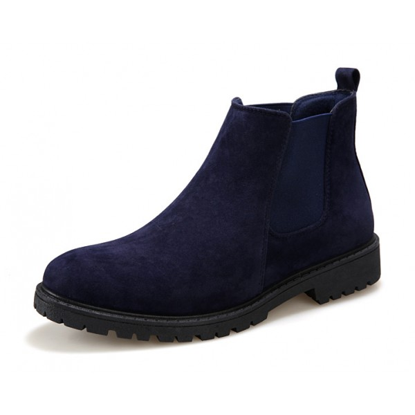 Blue Navy Suede Mens Chelsea Ankle Boots Shoes