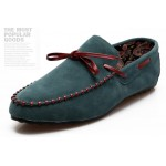 Blue Turquoise Bow Suede Mens Casual Loafers Flats Shoes