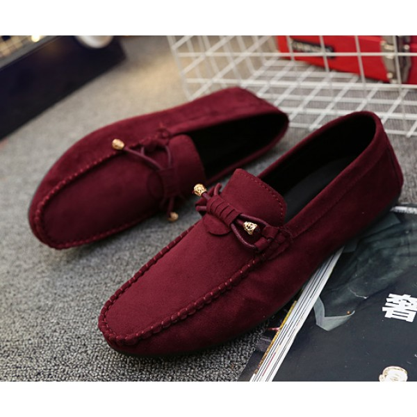 Burgundy Suede Bow Mens Casual Loafers Flats Shoes