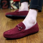 Burgundy Suede Braided Knit Mens Casual Loafers Flats Shoes