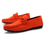 Orange Suede Mens Casual Loafers Flats Shoes