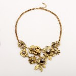 Gold Silver Roses Vintage Flowers Glamorous Ethnic Antique Necklace