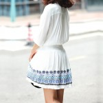White Blue Embroidery Ethnic Bohemia Tassels Sequins Mid Sleeves Skirt Dress