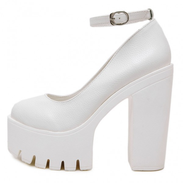 White Chunky Cleated Platforms Sole Block High Heels Mary Jane Shoes