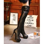Black Leather PU Platforms Stiletto High Heels Knee Long Boots Shoes