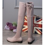 Grey Suede Elastic Long Knee Rider Flats Boots Shoes