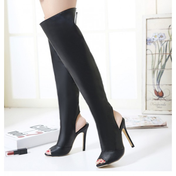 Black Leather PU Peep Toe Stiletto High Heels Knee Long Boots Shoes