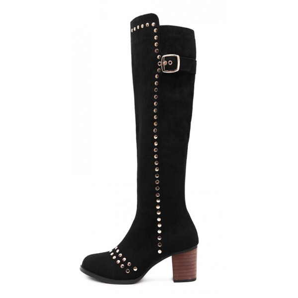 Black Suede Studs Punk Rock High Heels Long Boots Shoes